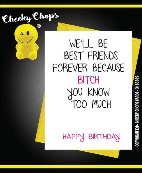 Peachy Birthday Card Best Friend Friends Forever C383 Cheeky Chops Personalised Birthday Cards Veneteletsinfo