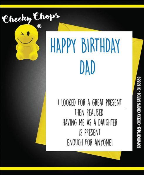 Birthday Card DAD Daughter best present C393