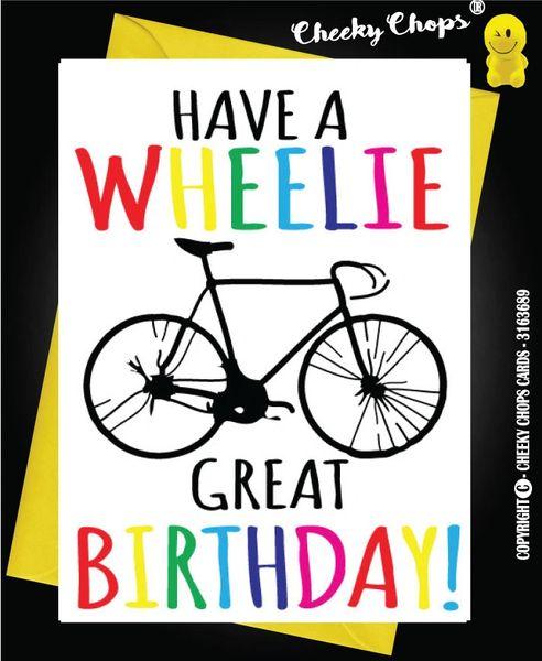 Birthday Card Cycling Wheelie - C67