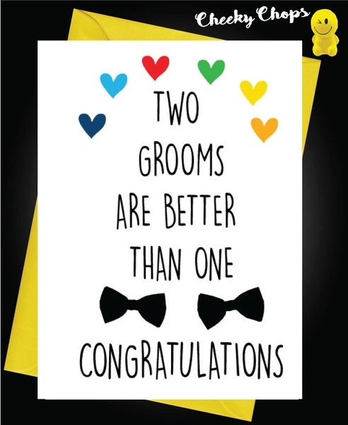 Wedding Cards LGBT- Two grooms are better than one L9