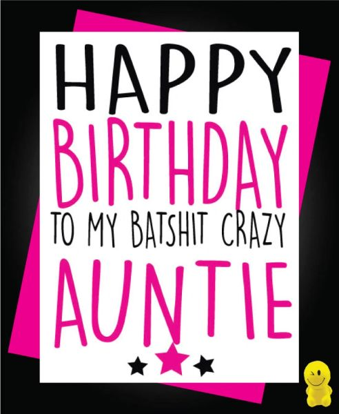 Funny Birthday Cards - BAT SHIT CRAZY AUNTIE C182