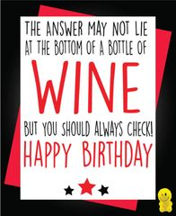 Funny Birthday Cards - Bottle of wine C211