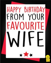 Funny Birthday Cards - Happy Birthday from your favourite wife c256