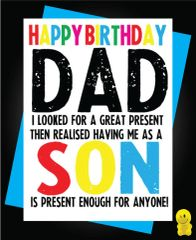 Funny Birthday Cards - Dad - Son C249