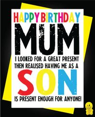 Funny Birthday Cards - Mum - Son C250