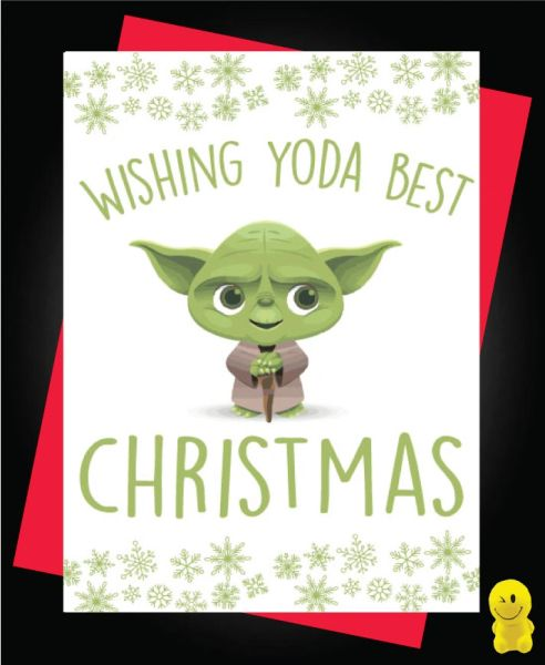 Funny Christmas Cards - Star Wars- Wishing Yoda Best Christmas - XM95