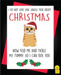 Funny Christmas Cards - Don't Give One Single F**k - Feed Me And Tickle My Tummy So I Can Bite You XM102