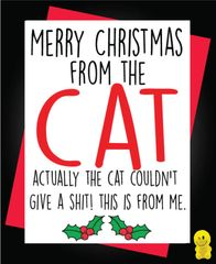Funny Christmas Cards - Merry Christmas from the Cat XM163