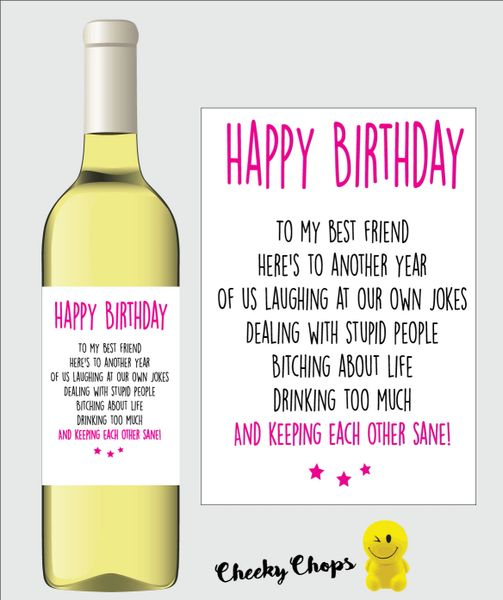 Funny Rude Wine Label Best Friend WL05