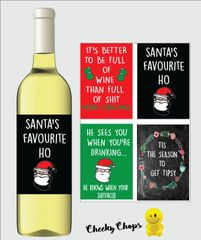 Christmas Wine Label Pack of 4 Label - Cheeky