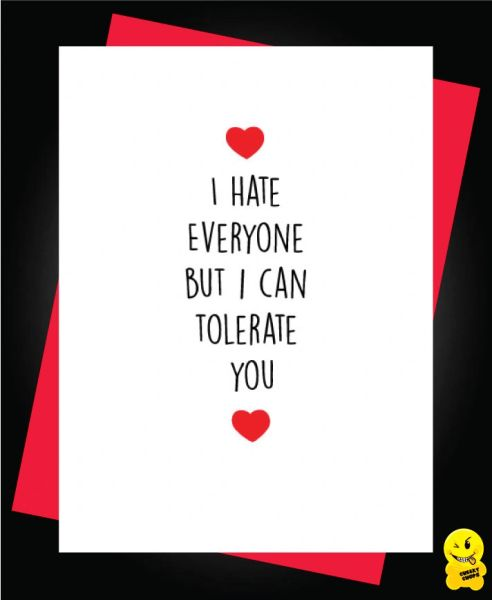 Card - I hate everyone but I can tolerate you - A52