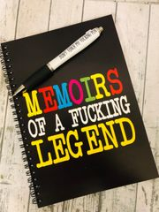 Cheeky A5 Notepads and Pen - Memoirs of a fucking legend