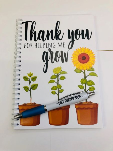 A5 Notepads and Pen - Thank You for helping me Grow