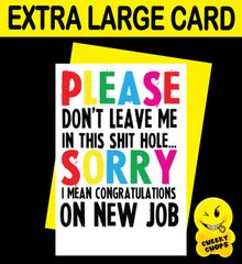 Jumbo Extra Large Card - Please don't leave - N10