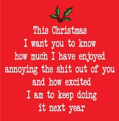This Christmas I want you to know how mich i have enjoyed annoying the shit out of you and how excited i am to keep doing so for next year