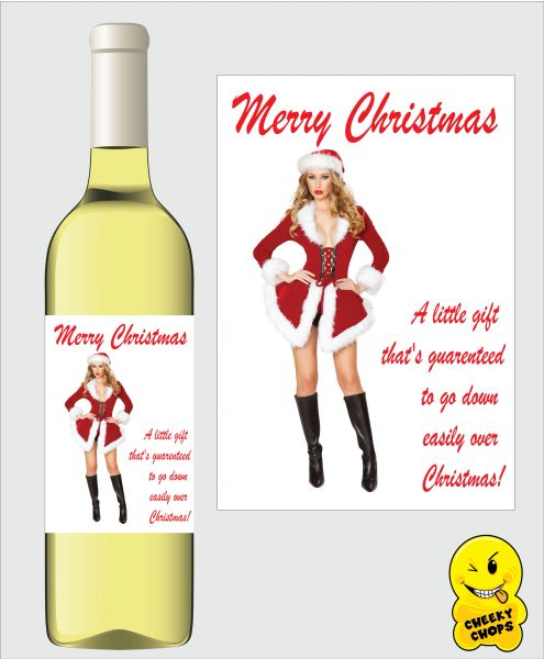 Wine Label Christmas A little gift that will go down easily WL29