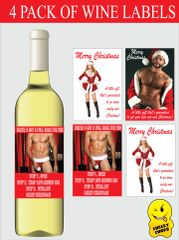 Christmas Wine Label Sexy Pack of 4