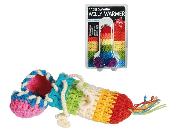 Knitted Rainbow Willy Warmer
