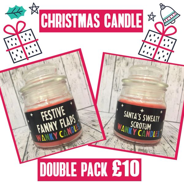 Christmas candle offer 2 for £10 - Festive Fanny Flaps + Santa's Sweaty Scrotum
