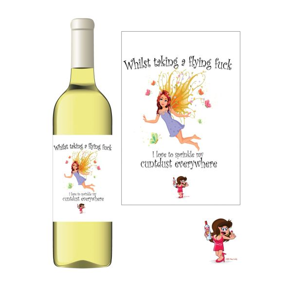 Little Miss Cunty Wine Label - Whilst taking a flying fuck - LMC14