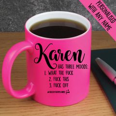 Personalised Mugs (Neon Pink) Three Moods - PMUG04
