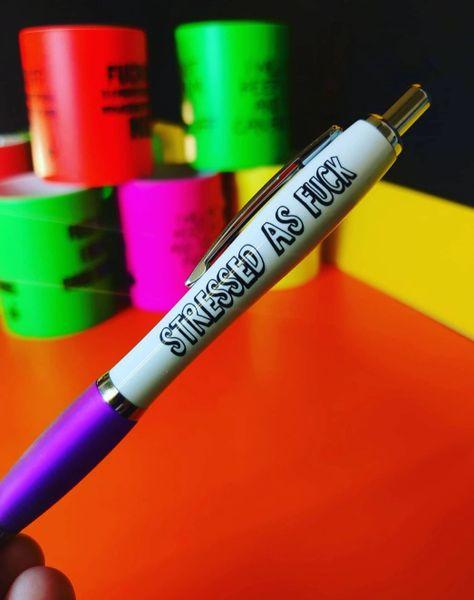 Funny Cheeky Profanity Pen - STRESSED AS FUCK PEN32