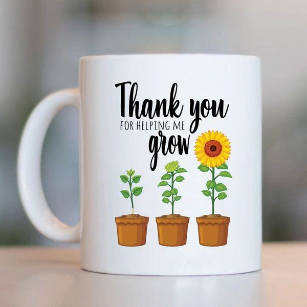 Teacher Gift Mug - Thank You For Helping Me Grow - MUGK6