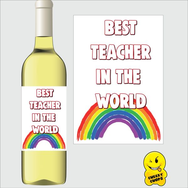Cheeky Chops Wine Label - Best teacher in the world! WL - K24