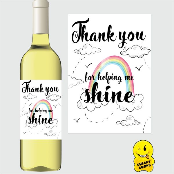 Cheeky Chops Wine Label - Thank you for making me shine WL- K5