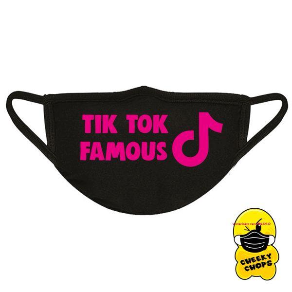 Face Mask Tik tok famous Black mask, pink text FM09