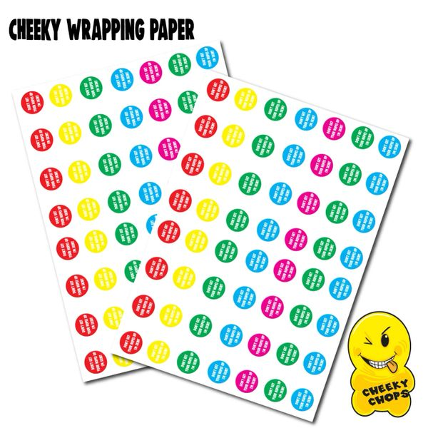 2 x CHEEKY CHOPS WRAPPING PAPER - DON'T GET EXCITED I'M SKINT - WRAP06