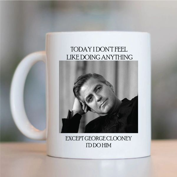 George Clooney Funny Mugs Novelty Mug - Birthday Office Cup Drink Gifts