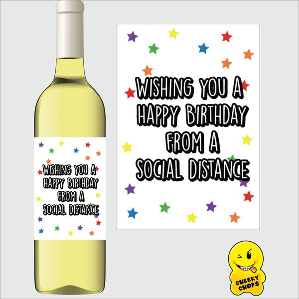 Cheeky Chops Wine Label - Wishing you a Happy Birthday from a social distance WL13
