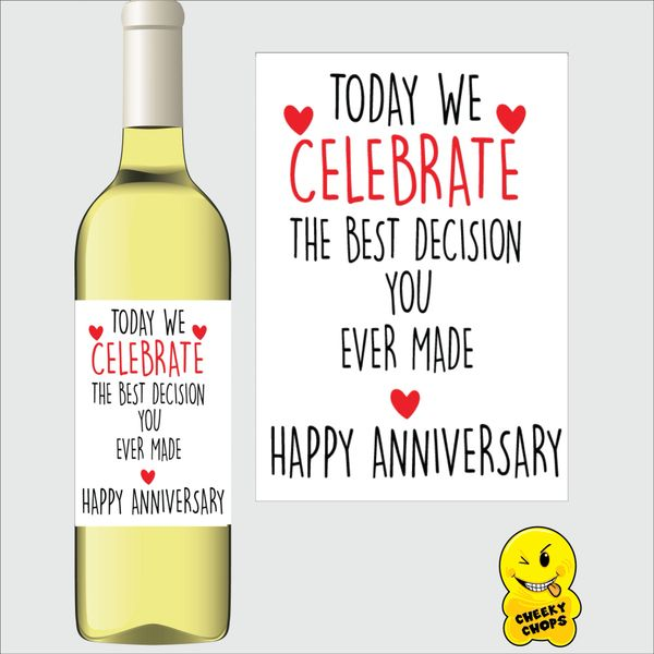 Cheeky Chops Wine Label - Today we celebrate the best decision you ever made WL14
