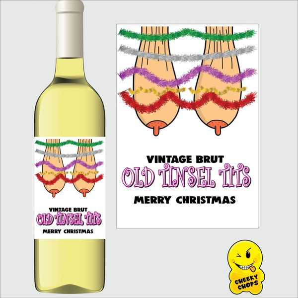 Cheeky Chops Wine Label - Old Tinsel Tits WL37