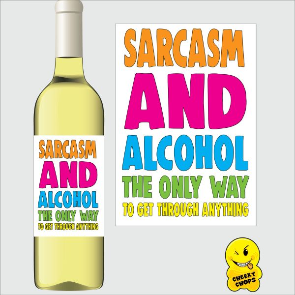 Cheeky Chops Wine Label - Sarcasm and Alcohol WLTOY15
