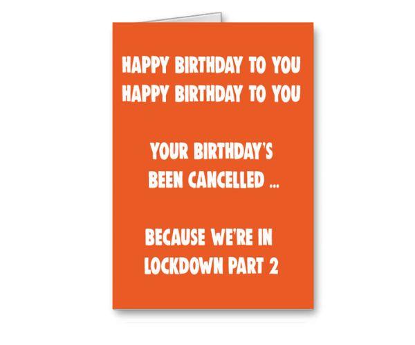 Lockdown 2 Birthday Card - We're in lockdown part 2 CV33