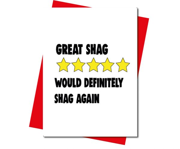 Rude Valentine's Anniversary card 5 star review - great shag v212