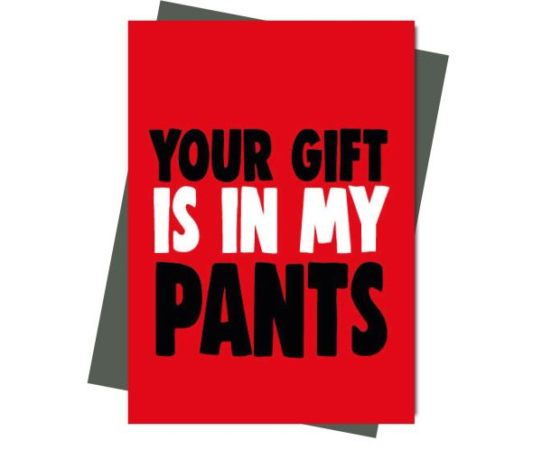 Rude Valentine's Anniversary Card Your gift is in my pants v206