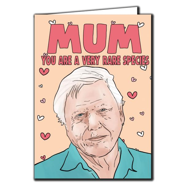 DAVID ATTENBOROUGH - MUM YOU ARE A VERY RARE SPECIES - MOTHERS DAY CARD - FOR MUM, STEPMUM M90