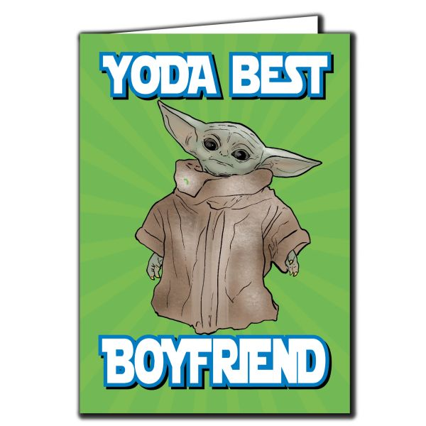 Baby Yoda the Mandalorian - YODA BEST BOYFRIEND Birthday Card For Him Friend Funny Humour IN116