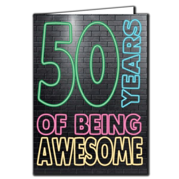 50 years of being awesome - 50th Birthday Age Relation Male Birthday Card AGE15