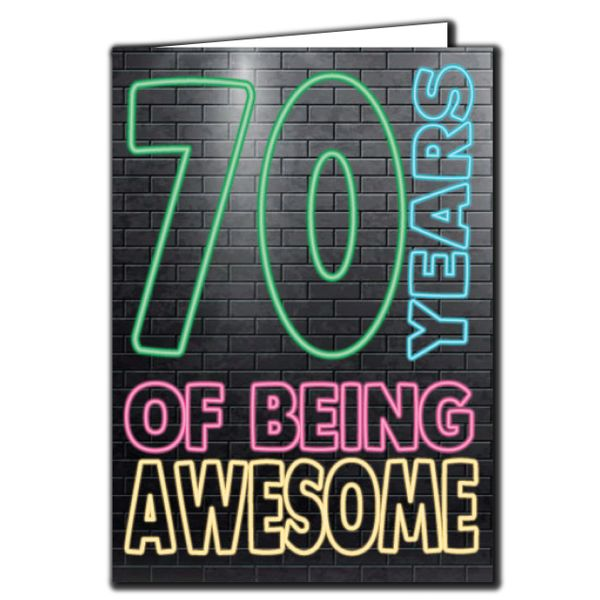 70 years of being awesome - 70th Birthday Age Relation Male Birthday Card AGE17