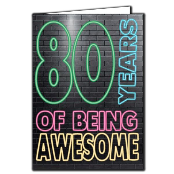 80 years of being awesome - 80th Birthday Age Relation Male Birthday Card AGE18