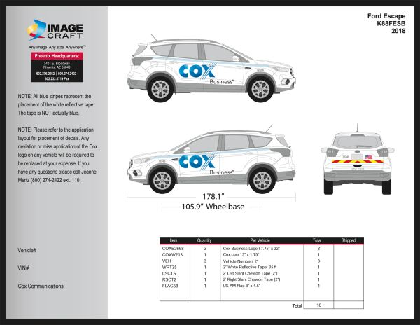 Ford Escape 2018 - Business - Complete Kit