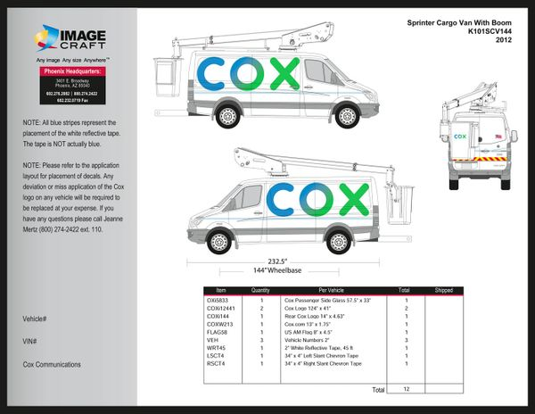 Sprinter Cargo Van (144 WB) With Boom 2012 - Complete Kit