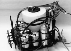 T-30G-3 -Three point sprayer with one 30gal. tank and three 3 gal. containers