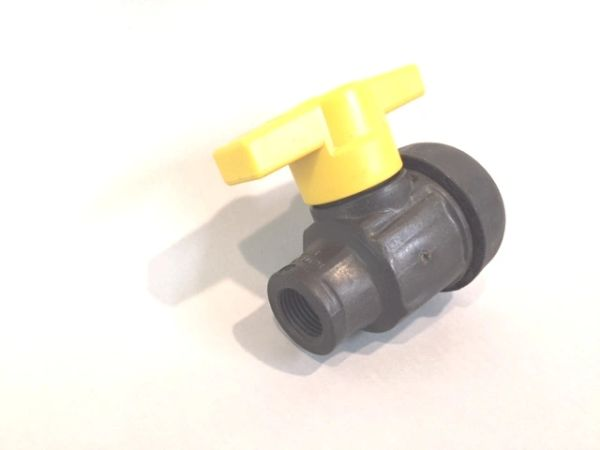 "45435N -Poly ball valve with 1 1/4"" threads"