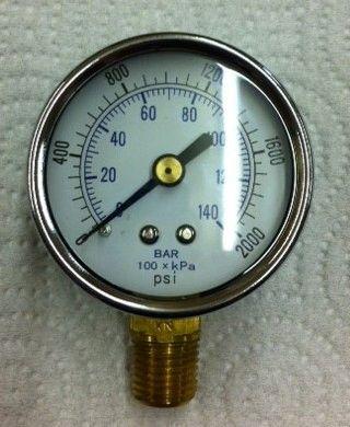"""GA3041 - 0-2000 PSI Gauge, 1/4"""" NPT (M)"""