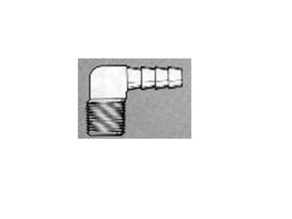 "EL3812-BR - Brass 3/8"" npt (M) x 1/2"" h.b. elbow"